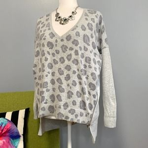 Express Grey Leopard Dolman Oversized Sweater XS